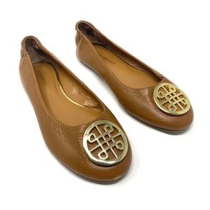 Audrey Brooke Paris Brown Gold Medallion Flat